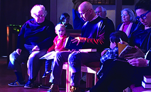 Grandparents and children at chapel